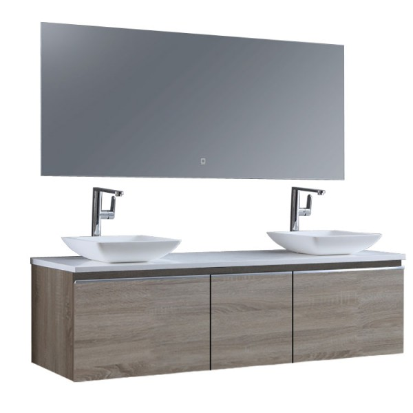 Badmöbel StoneArt Milano ME-1600pro-2 Eiche hell 160x45