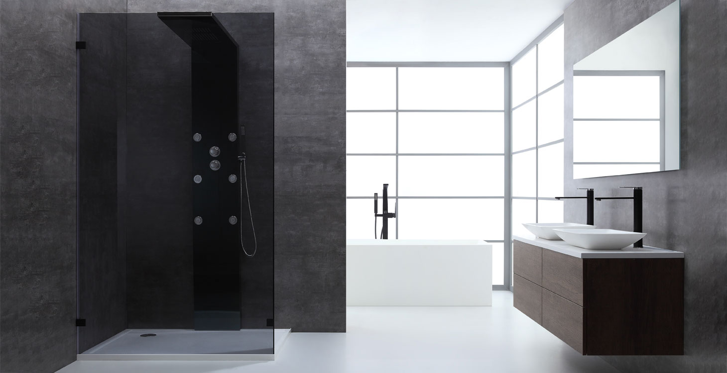 eago duschwand walk in dusche duschabtrennung lw0900 b schwarz 90x210 online ordern. Black Bedroom Furniture Sets. Home Design Ideas